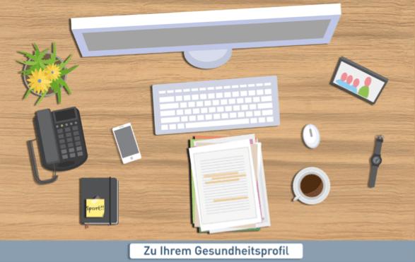 """Startbild der App """"Fit@Work"""". Ein Schreibtisch."""