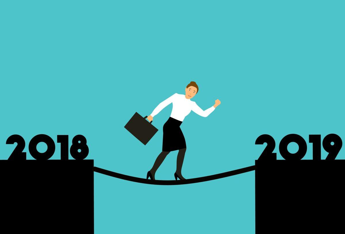 Arbeitnehmerin auf dem weg ins Jahr 2019.