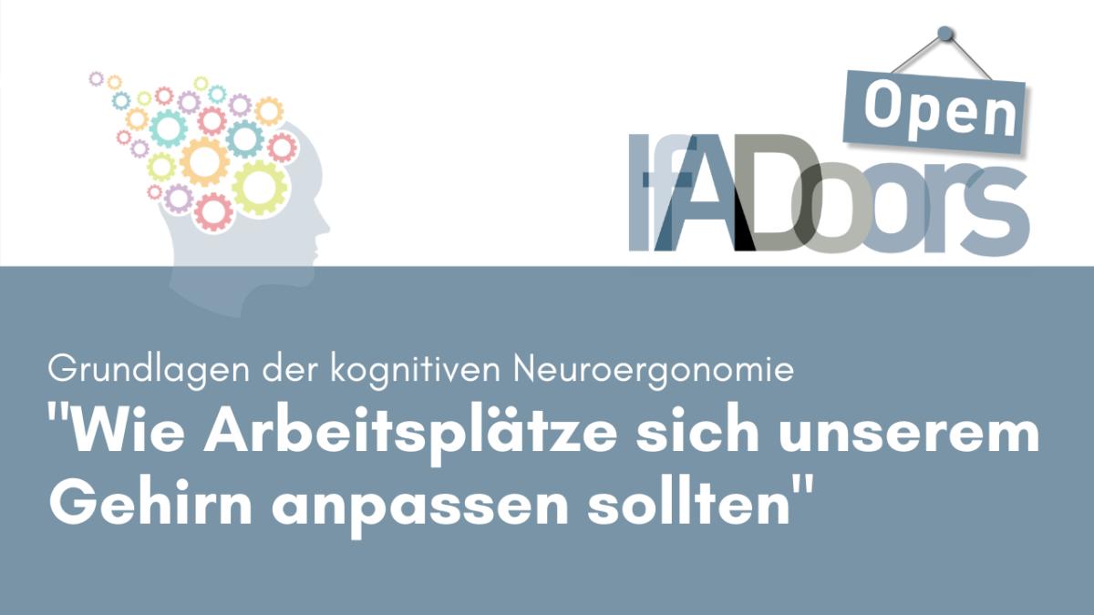 Banner für die Veranstaltung IfADoors mit Edmund Wascher,Arbeitsplatzgestaltung_Neuroergonomie